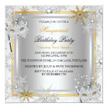 "Masquerade Gold Snowflakes Silver Masks Party 2 5.25"" Square Invitation Card"