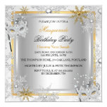 Masquerade Gold Snowflakes Silver Masks Party 2 5.25x5.25 Square Paper Invitation Card