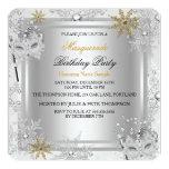 Masquerade Gold Snowflakes Silver Masks Party 5.25x5.25 Square Paper Invitation Card