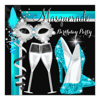 Masquerade Hi Heels Teal Black Champagne Party 2 Invitation