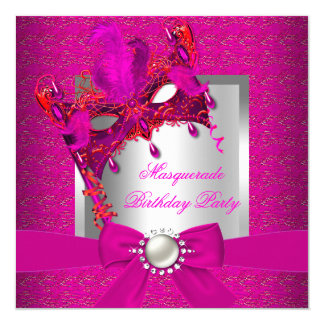 Masquerade Hot Pink Silver Pink Birthday Party 5.25x5.25 Square Paper Invitation Card