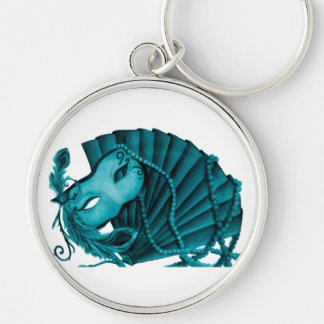 Masquerade in Teal Keychain