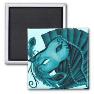 Masquerade in Teal Magnet