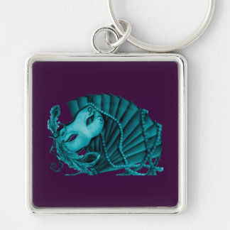 Masquerade in Teal on purple Keychain