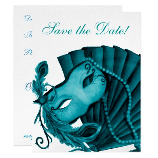 Masquerade in Teal Save the Date Card