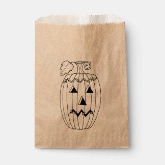 Masquerade Jack O Lantern Two Line Art Design Favor Bag