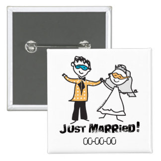 Masquerade Just Married Buttons