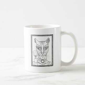 Masquerade Kitty Mouse Lollipop Line Art Design.pd Coffee Mug