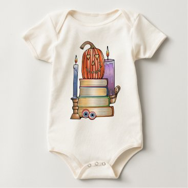 Halloween Themed Masquerade Library Books Baby Bodysuit