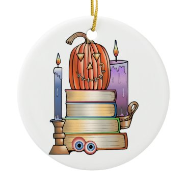 Halloween Themed Masquerade Library Books Ceramic Ornament