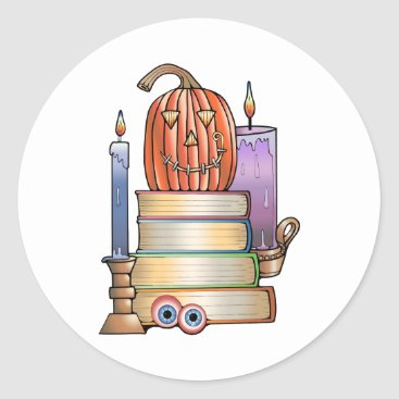 Halloween Themed Masquerade Library Books Classic Round Sticker