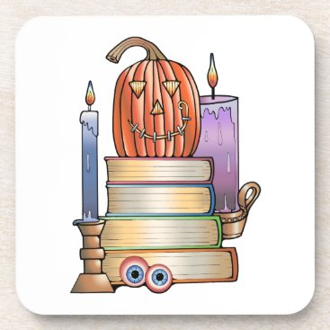 Halloween Themed Masquerade Library Books Coaster