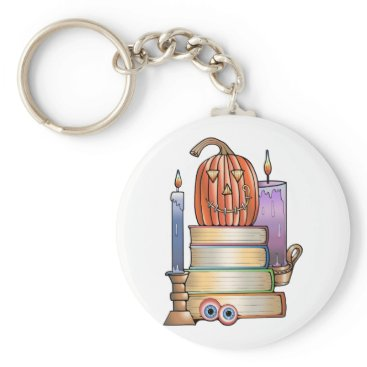 Halloween Themed Masquerade Library Books Keychain
