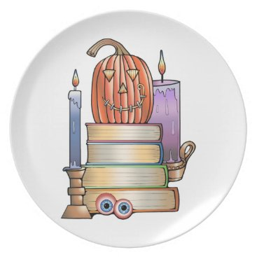 Halloween Themed Masquerade Library Books Melamine Plate