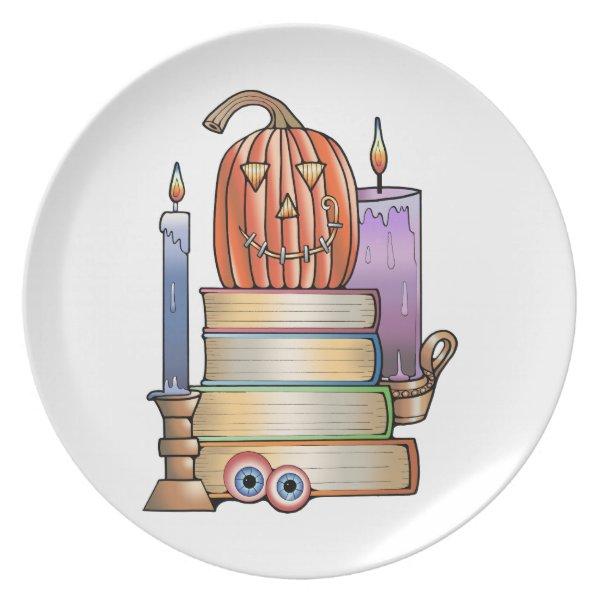Masquerade Library Books Melamine Plate