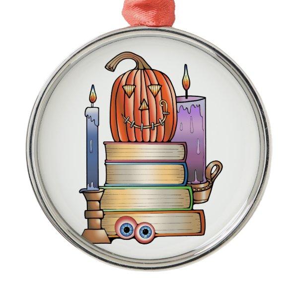 Masquerade Library Books Metal Ornament