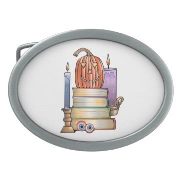 Halloween Themed Masquerade Library Books Oval Belt Buckle