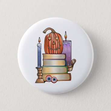 Halloween Themed Masquerade Library Books Pinback Button