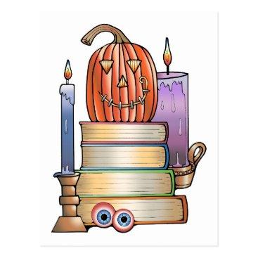 Halloween Themed Masquerade Library Books Postcard