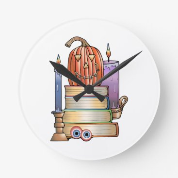 Halloween Themed Masquerade Library Books Round Clock