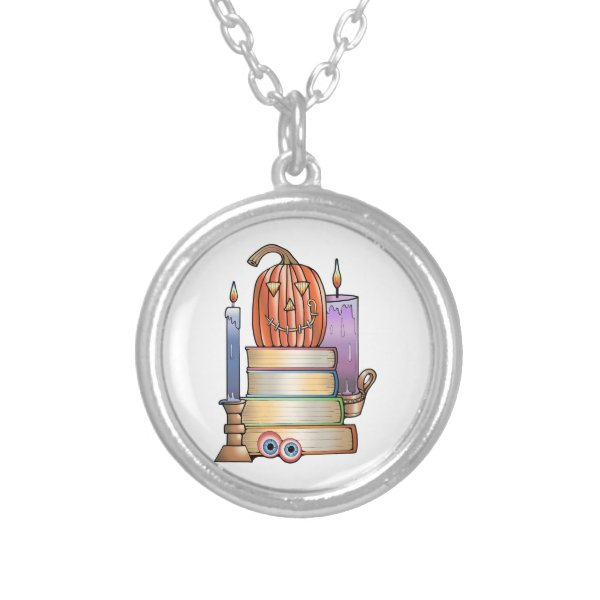 Masquerade Library Books Silver Plated Necklace
