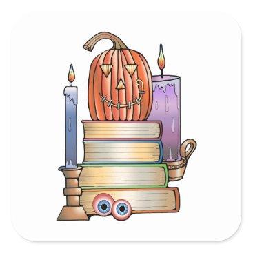 Halloween Themed Masquerade Library Books Square Sticker