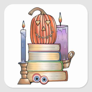 Halloween Themed Masquerade Library Books Square Sticker