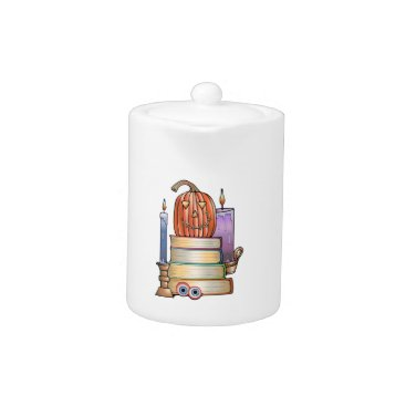 Halloween Themed Masquerade Library Books Teapot
