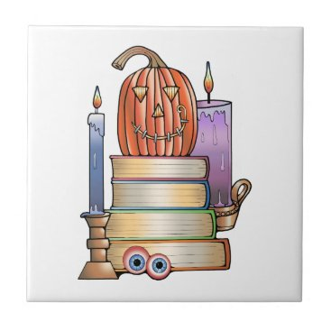 Halloween Themed Masquerade Library Books Tile