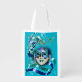 Masquerade mask blue gold womans reusable grocery bag