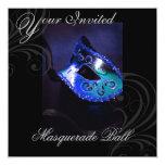 """Masquerade Mask Blue Halloween Party Invitation 5.25"""" Square Invitation Card"""