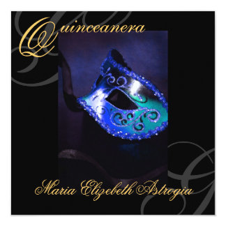 Masquerade Mask BLue Quinceanera Party Invitation