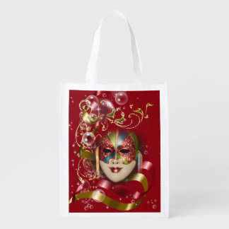 Masquerade mask gold floral swirl reusable grocery bag