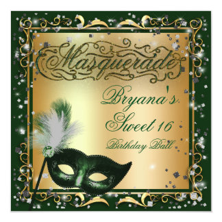 Masquerade Mask Gold & Green Birthday Party Card