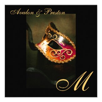Masquerade Mask Gold Monogram Wedding Invitation