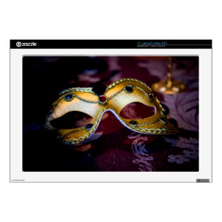 """Masquerade Mask Gold Party Halloween Glamour Decals For 17"""" Laptops"""