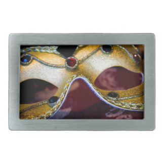 Masquerade Mask Gold Party Halloween Glamour Rectangular Belt Buckle