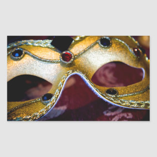 Masquerade Mask Gold Party Halloween Glamour Rectangular Sticker