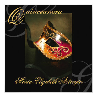 Masquerade Mask Gold Quinceanera Party Invitation
