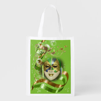 Masquerade mask green gold womans grocery bag