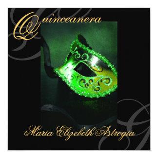 Masquerade Mask Green Quinceanera Party Invitation