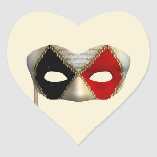 Masquerade Mask Heart Sticker