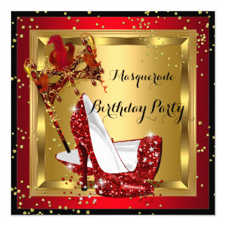 Masquerade Mask High Heel Shoe Red Birthday 2 5.25x5.25 Square Paper Invitation Card
