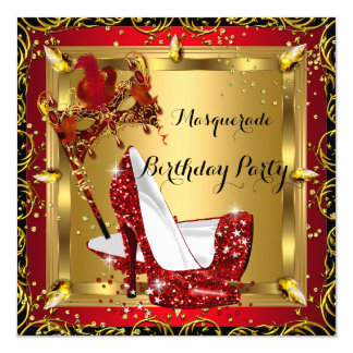 Masquerade Mask High Heel Shoe Red Birthday 3 5.25x5.25 Square Paper Invitation Card