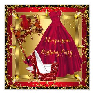Masquerade Mask High Heel Shoe Red Birthday 4 Card