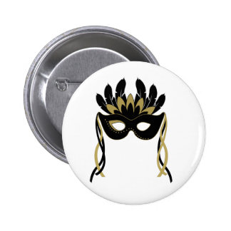 Masquerade Mask in Black and Gold Button Badge