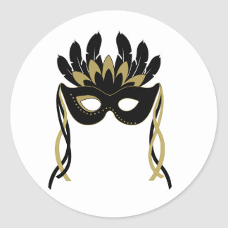 Masquerade Mask in Black and Gold Stickers