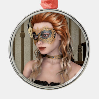 Masquerade Mask Round Metal Christmas Ornament