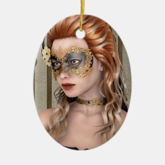 Masquerade Mask Double-Sided Oval Ceramic Christmas Ornament