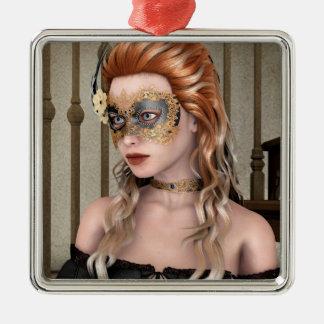 Masquerade Mask Square Metal Christmas Ornament